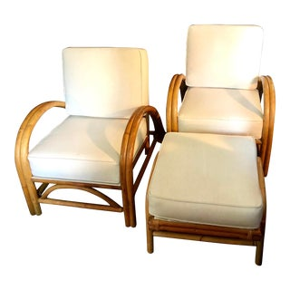 Mid-Century Modern Bamboo Lounge Chairs & Ottoman - Set of 3