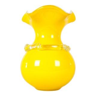 Mid Century Modern Lemon Yellow Murano Glass Vase For Sale