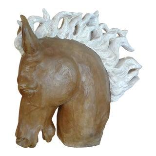 Glazed Terra Cotta Horse Head Sculpture