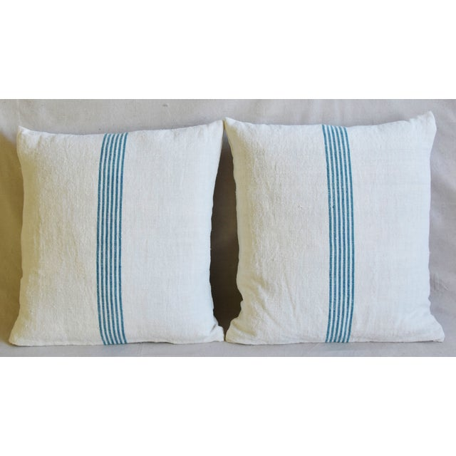 Pair of large reversible double-sided custom-tailored pillows created from vintage/professionally cleaned French homespun...