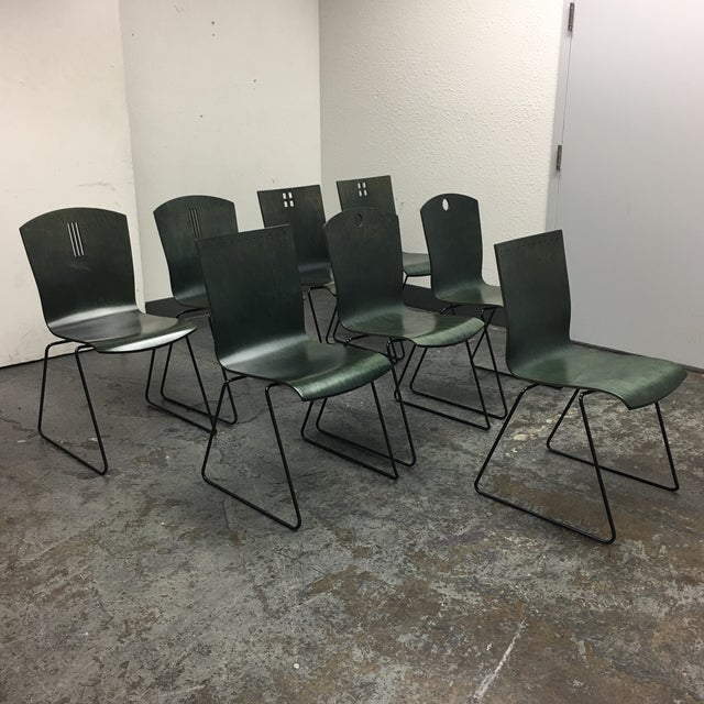 Leland International Green Stackable Chairs - Set of 8 For Sale - Image 4 of 11