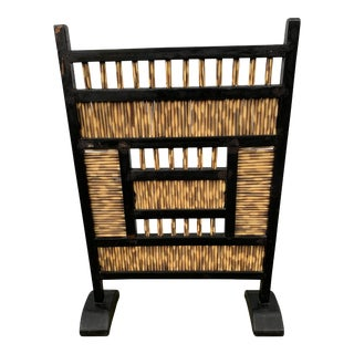 Antique Tortoise Bamboo Fireplace Screen For Sale