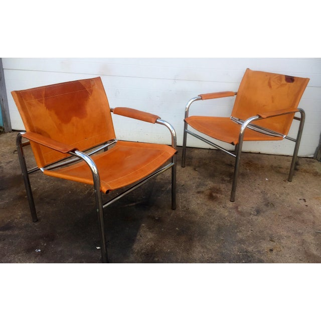 Distressed Leather & Chrome Sling Chairs - A Pair For Sale - Image 4 of 8