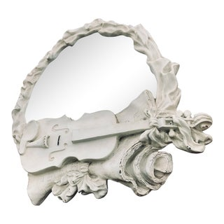 Antique Plaster & Gesso Baroque Music Theme Mirror For Sale