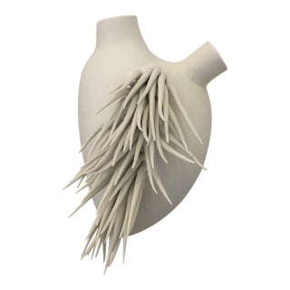 White Pottery Heart by Fos of Firenze Italy For Sale