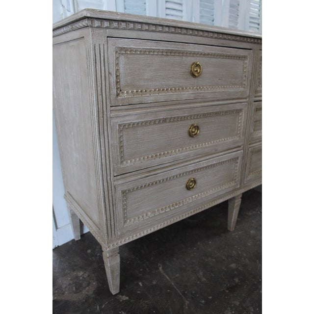 20th Century Swedish Gray Finish Chest of Drawers For Sale - Image 4 of 8