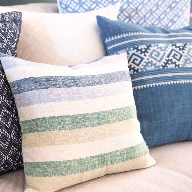 Blue & Green Striped Cotton Pillows - A Pair - Image 6 of 6