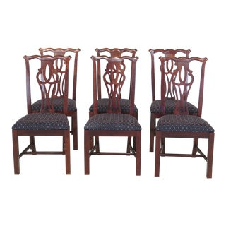 Thomasville Cherry Chippendale Dining Room Chairs - Set of 6 For Sale