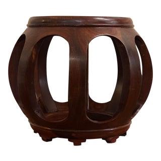 Vintage Asian Rosewood Garden Stool For Sale
