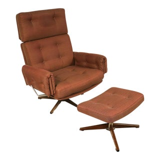 Mid Century Lounge Chair and Ottoman For Sale