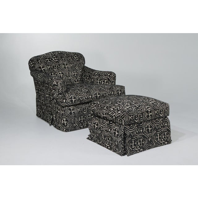 1980s Vintage Black & White Club Chair and Ottoman For Sale - Image 12 of 12