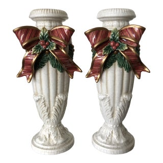 Fitz and Floyd Christmas Candlesticks - a Pair For Sale
