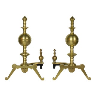 Pair of 19th Century Turned Brass Andirons For Sale