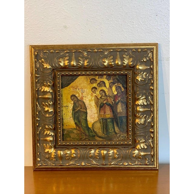 Religious Russian 18th-19th Century Icon of Anastasis, Later Gitwood Frame For Sale - Image 3 of 12