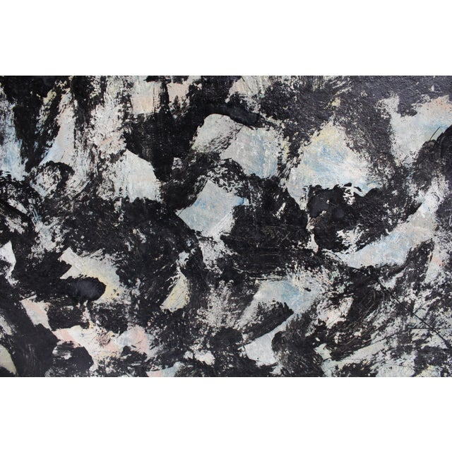 Large Abstract Expressionist Painting in Black and Green by Artist Jacques Lamy - Image 5 of 8