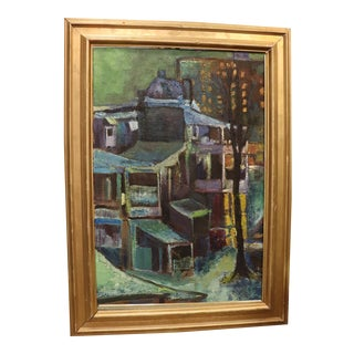Vintage Mid-Century Framed Canvas Painting For Sale