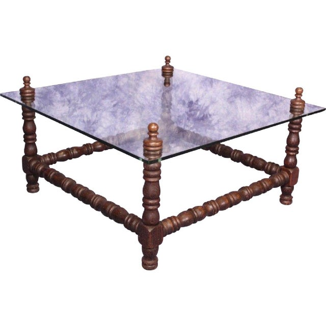 Baroque Turned Wood Glass Top Table - Image 3 of 8