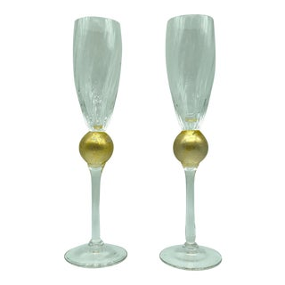 Union Street Guy Corrie Glass Manhattan Gold Ball Stem Champagne Flutes- a Pair For Sale