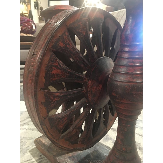 Antique Distressed Red Spinning Wheel For Sale - Image 9 of 11