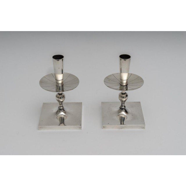 Silver Plated Candlesticks by Tommy Parzinger - a Pair For Sale - Image 12 of 13