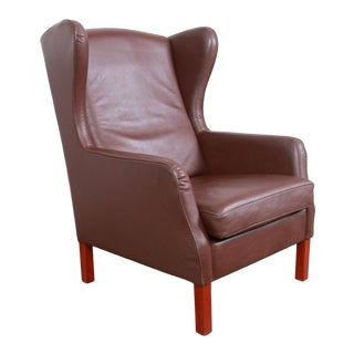 Danish Modern Brown Leather Wingback Lounge Chair For Sale