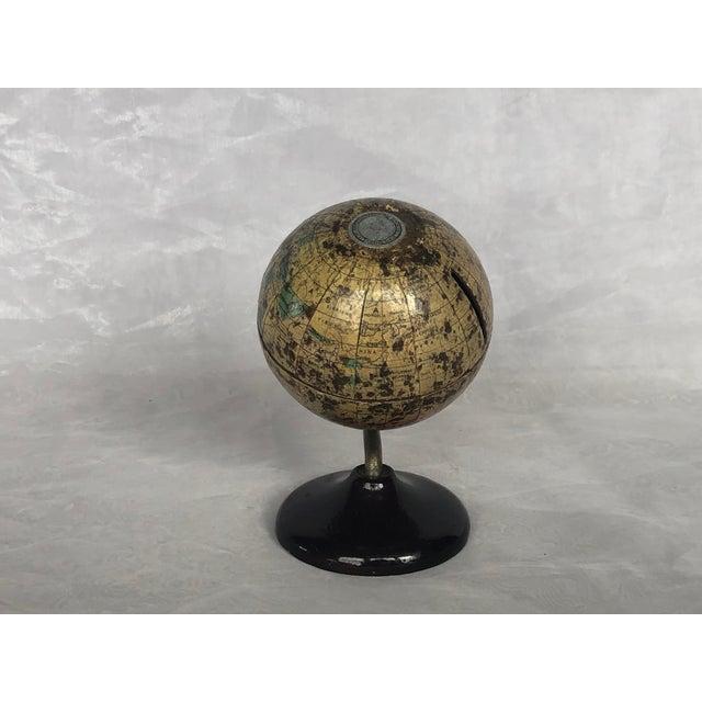 Art Deco Vintage World Desk Globe Die Cast Metal Bank For Sale - Image 3 of 13