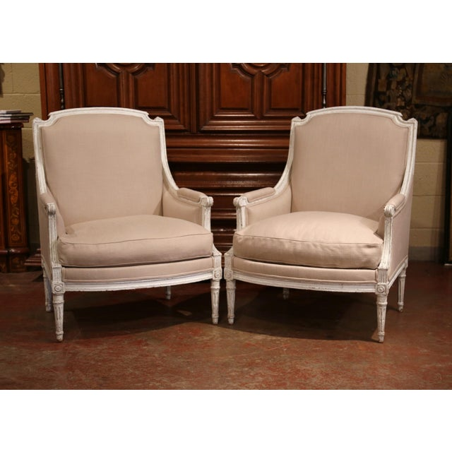 Late 19th Century 19th Century French Louis XVI Carved Painted Armchairs With Beige Fabric - a Pair For Sale - Image 5 of 9