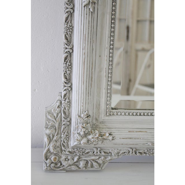 20th Century Carved & Painted French Mirror With Roses - Image 3 of 5
