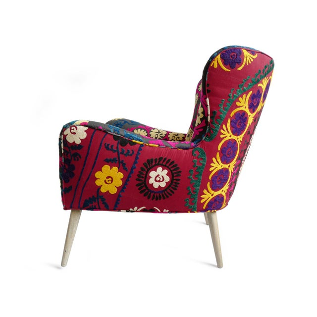 Indian Zena Suzani Arm Chair For Sale - Image 3 of 9