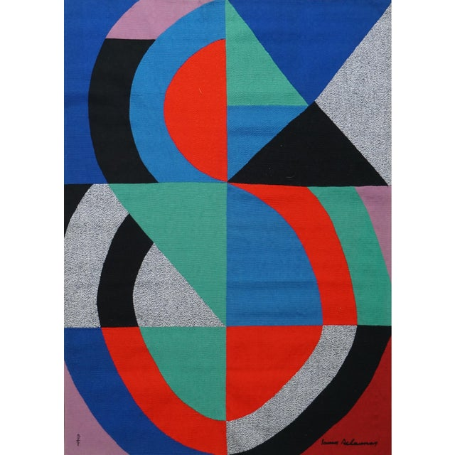 """Textile Hand-Signed Modern Tapestry by Sonia Delaunay - """"Grande Icône"""" For Sale - Image 7 of 7"""