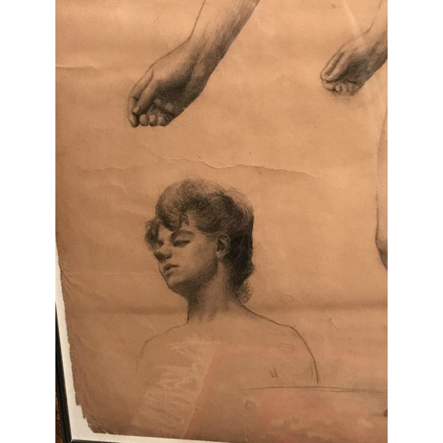 Wood Classical French Female Nude Study Drawing, Late 19th Century For Sale - Image 7 of 7