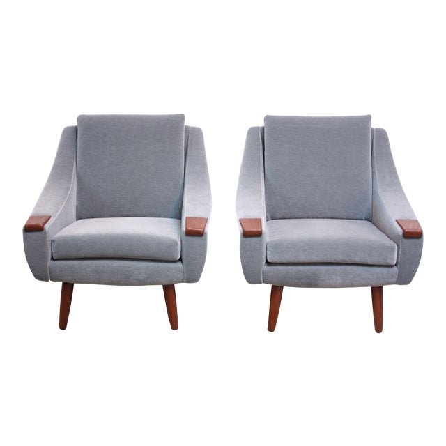 Pair of Danish Modern Teak and Mohair Lounge Chairs For Sale