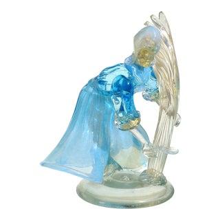 Murano Vintage Opalescent Blue White Gold Flecks Italian Art Glass Mid Century Women Farmer Sculpture For Sale