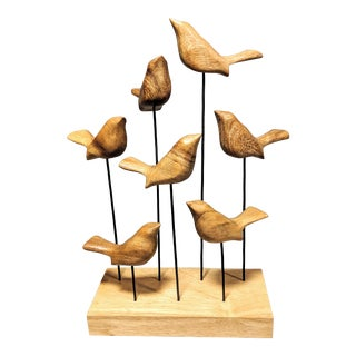 Birds in Motion Wooden Sculpture For Sale