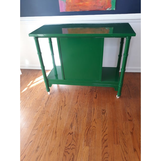 Hollywood Regency Lacquered Green Faux Bamboo Bar Cart For Sale - Image 4 of 13