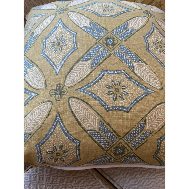 """Custom Pillows in Kathryn M Ireland """"Graham"""" Designer Fabric - A Pair For Sale - Image 4 of 9"""