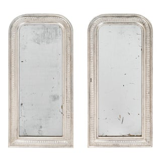 Louis Philippe Silver Leafed Mirrors - a pair For Sale