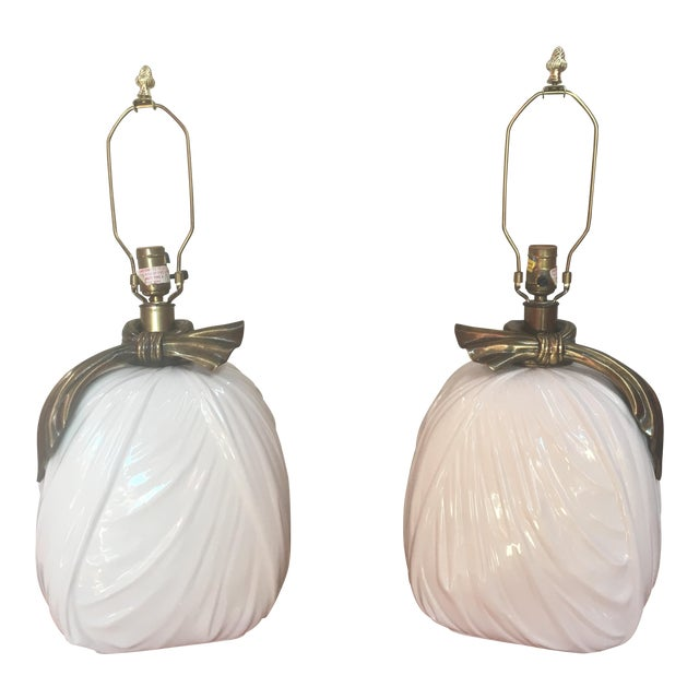 1980s Vintage Chapman Drappery Hollywood Regency Style Lamps - A Pair For Sale