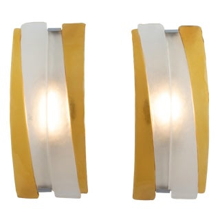 Pair of Arched Murano Sconces in Frosted and Amber Glass, Circa 1980s For Sale