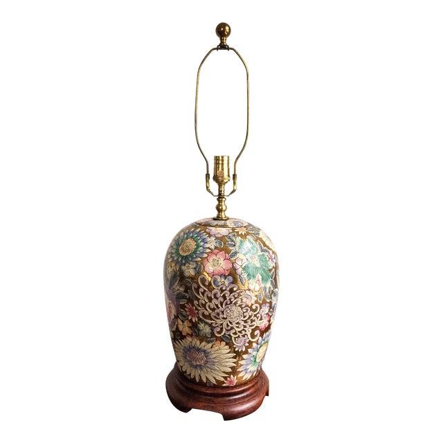 Vintage Chinoiserie Gold Enameled Ginger Jar Table Lamp For Sale