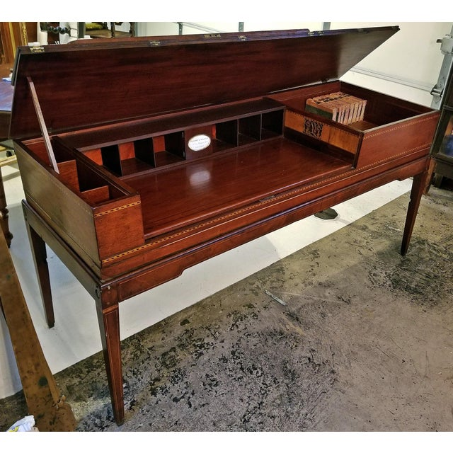 18c British Mahogany and Satinwood Bureau For Sale - Image 13 of 13