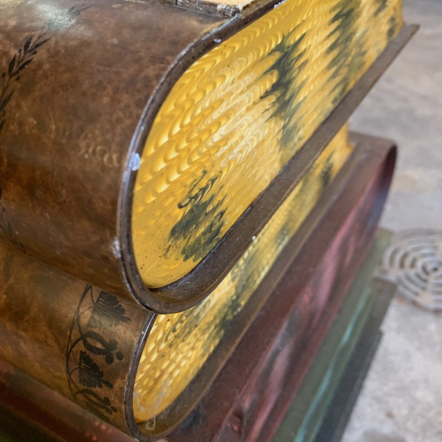 1950s Italian Tole Metal Library Book Stack Table For Sale - Image 9 of 13