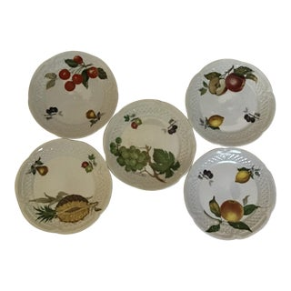 1970s French Porcelain Cheese/Appetizer/Fruit Serving Plates with Fruit Design - Set of 5 For Sale