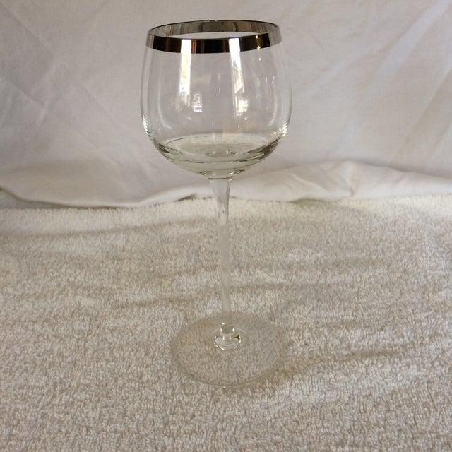 Tall Vintage Crystal Platinum Rim Wine Glasses - Set of 6 For Sale - Image 4 of 13