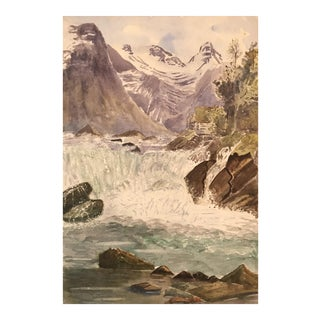 European Watercolor Painting of River & Mountains For Sale