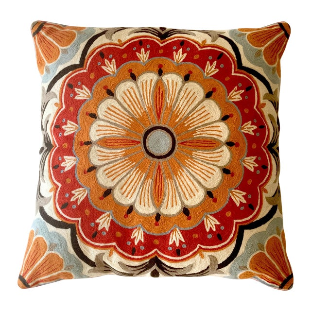 Large Suzani Crewelwork Pillow - Image 1 of 7