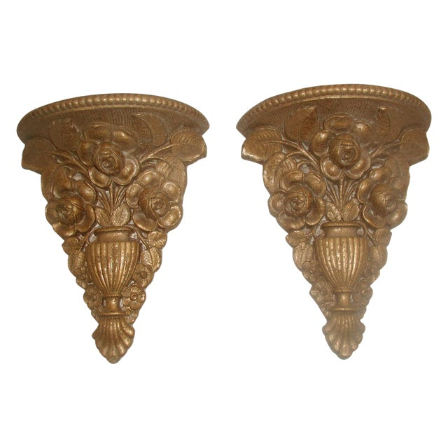 Vintage 1946 Ornate Gilt Molded Brackets - A Pair - Image 1 of 8