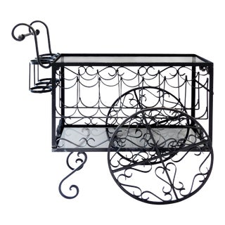 Wrought Iron Bar Cart and Bottle Storage For Sale