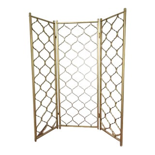 Mid-Century 3 Panel Gold Aluminum Divider For Sale