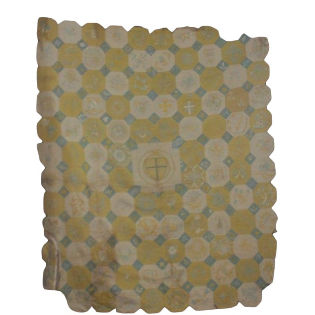 Vintage English Ramsgate Heraldry Linen Embroidered Block Quilt For Sale